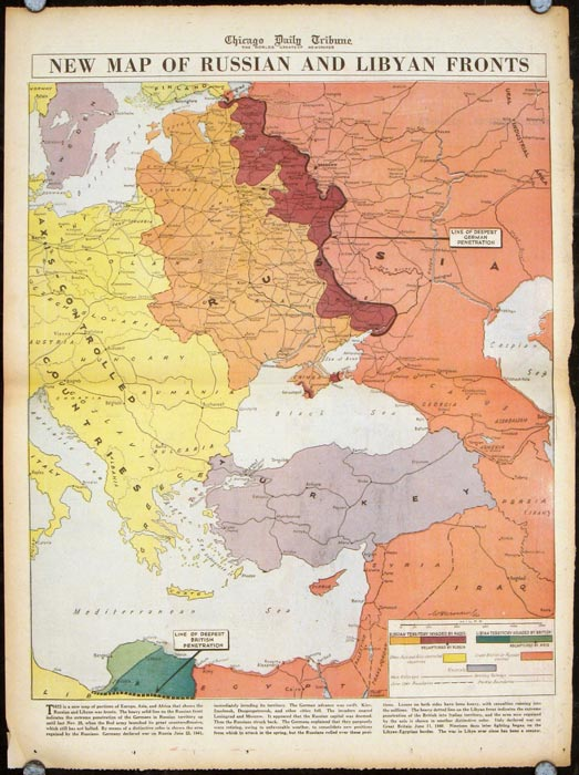 New Map of Russian and Libyan Fronts. RUSSIA / LIBYA / WORLD WAR II.