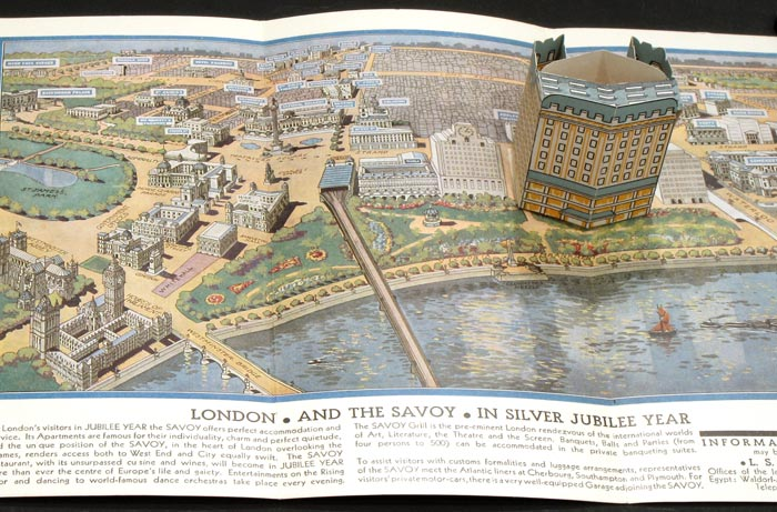 Savoy Hotel London. Map title: London and The Savoy in Silver Jubilee Year. ENGLAND - LONDON - POP-UP.