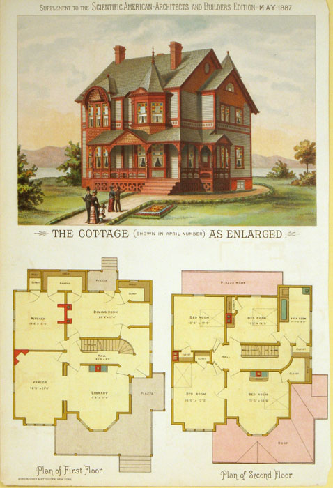 The Cottage (Shown in April Number) As Enlarged. AMERICAN VICTORIAN ARCHITECTURE / CHROMOLITHOGRAPH.