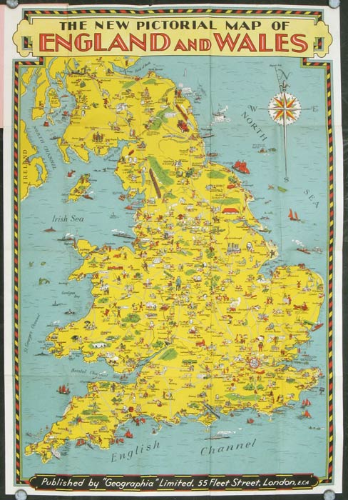 Map Of England And Wales.The New Pictorial Map Of England And Wales England Wales