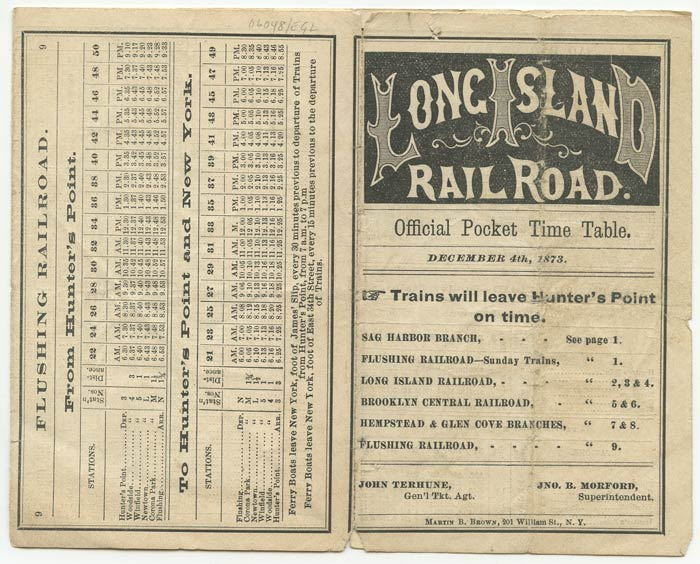 Long Island Railroad. Official Pocket Time Table