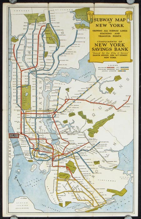 The Subways of New York. East Side - West Side all around the town Under the Sidewalks of New York. Map title: Subway Map of New York Showing All Subway Lines Stations and Transfer Points. Compliments of New York Savings Bank. NEW YORK - NEW YORK CITY.