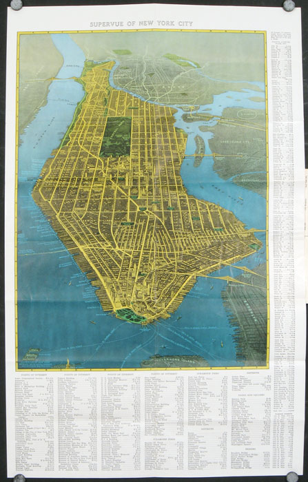 New York Latest Guide and Illustrated Map in Colors: With Street Index, Transportation Maps, Elevated and Subway stations, House Numbers of Streets, etc. Map title: Supervue of New York City. NEW YORK - NEW YORK CITY.