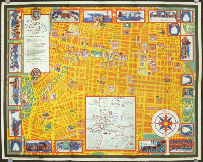 Map of Mexico City and Valley. MEXICO - MEXICO CITY.