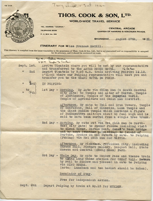 Thos. Cook & Son, Ltd. World-Wide Travel Service. 1931 Travel Itinerary. ASIA - TRAVEL ITINERARY.