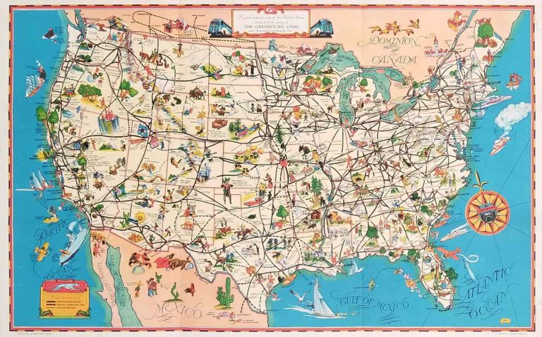 A Good Natured Map of the United States - and a guide to the Wonderful West. Compliments of Greyhound and Union Pacific Stages. Map title: A good-natured map of the United States setting forth the services of The Greyhound Lines. GREYHOUND BUS.