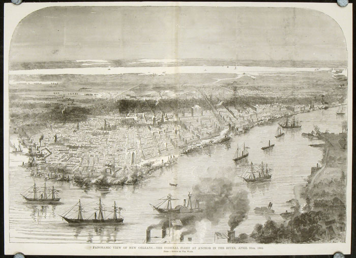 Panoramic View of New Orleans. - The Federal Fleet At Anchor in the River, April 25th, 1862. CIVIL WAR / LOUISIANA - NEW ORLEANS.