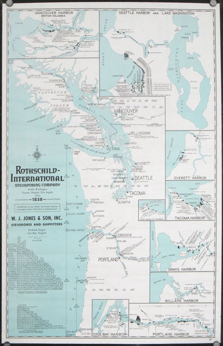 Rothschild-International Stevedoring Company Seattle, Washington, Tacoma, Olympia, Port Angeles, Aberdeen Since 1858 Stevedore Shipfitters. Operating at All Ports on Puget Sound, Columbia River, Coos Bay & Yaquina Bay. PACIFIC NORTHWEST / PORTS.