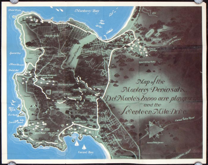 Map of the Monterey Peninsula, Del Monte's 20,000 acre playground and the Seventeen Mile Drive. CALIFORNIA - MONTEREY.
