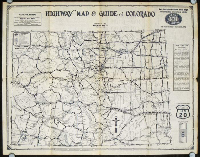 Highway Map and Guide of Colorado. COLORADO.