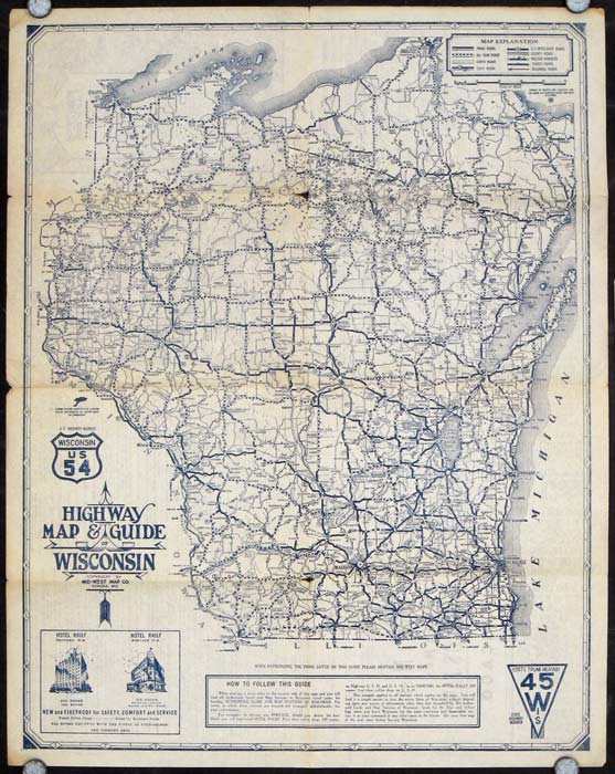 Highway Map and Guide of Wisconsin. WISCONSIN.
