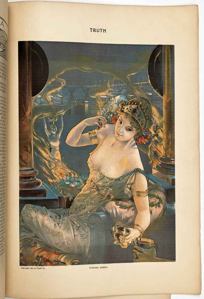 """""""Poppæa Sabina"""". In June 1901 issue of Truth magazine. ART NOUVEAU COLOR PRINT."""