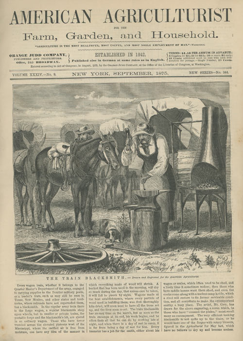 """""""The Train Blacksmith"""" in American Agriculturist. W. M. CARY."""