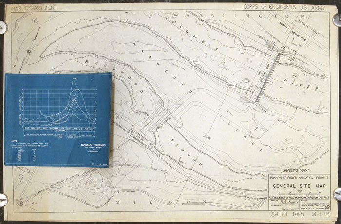 Preliminary Bonneville Power Navigation Project. Five maps/diagrams. OREGON / WASHINGTON STATE- BONNEVILLE DAM.