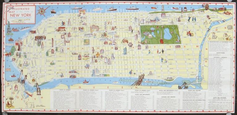 Illustrated Map of the City of New York in Full Color. NEW YORK - NEW YORK CITY.