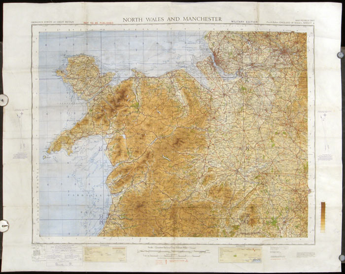 Ordnance Survey of England: North Wales and Manchester: War Revision 1940. WALES / ENGLAND.