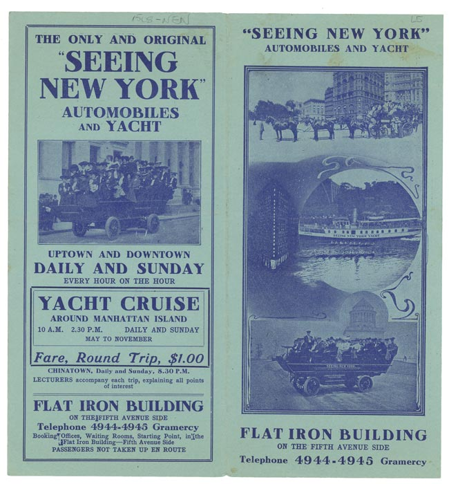 """""""Seeing New York"""" Automobiles and Yacht. NEW YORK - NEW YORK CITY."""