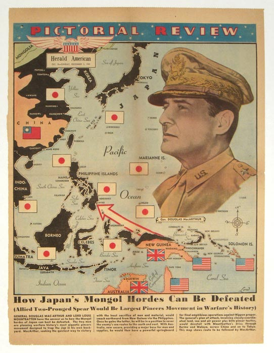 How Japan's Mongol Hordes Can Be Defeated. Pictorial Review Herald American, Sunday, December 5, 1943. PACIFIC ISLANDS / WORLD WAR II.