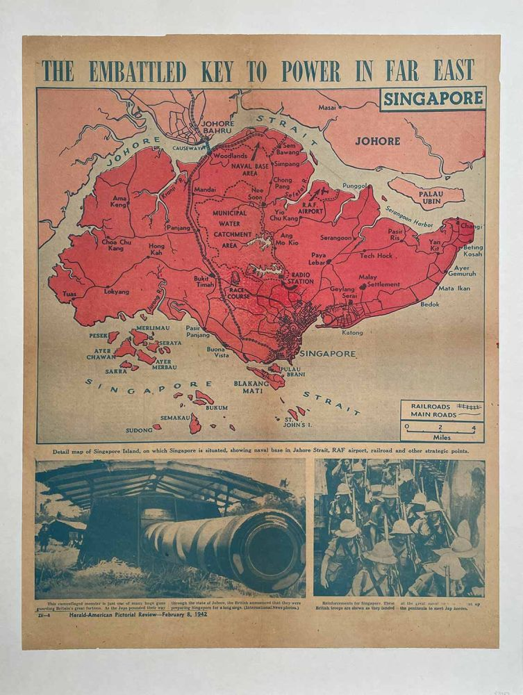 The Embattled Key to Power in Far East. Herald-American Pictorial Review, February 8, 1942. SINGAPORE / WORLD WAR II.