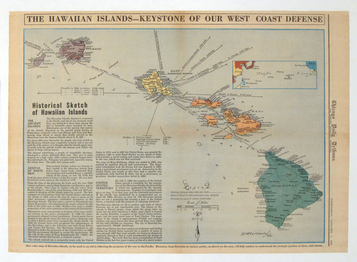 The Hawaiian Islands - Keystone of Our West Coast Defense. Published in the Chicago Daily Tribune, Wednesday, January 7, 1942. HAWAII - WORLD WAR II.