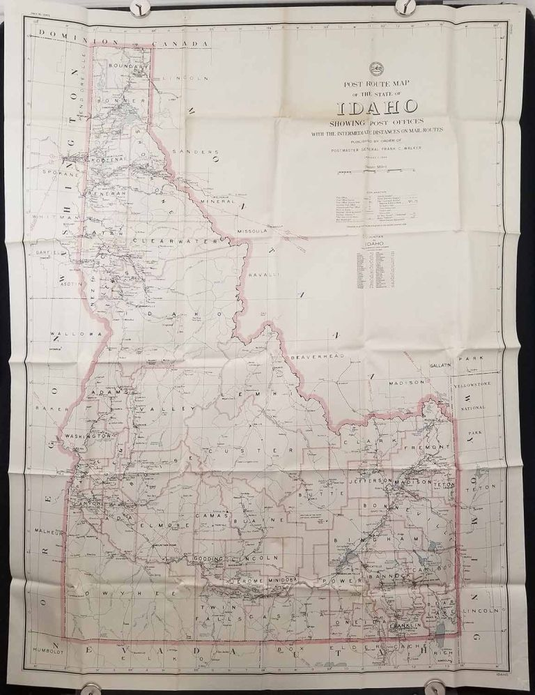 Post Route Map of the State of Idaho. IDAHO.