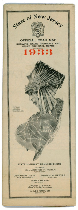 State of New Jersey Official Road Map Showing State Highways and Other Principal Roads 1933. NEW JERSEY.