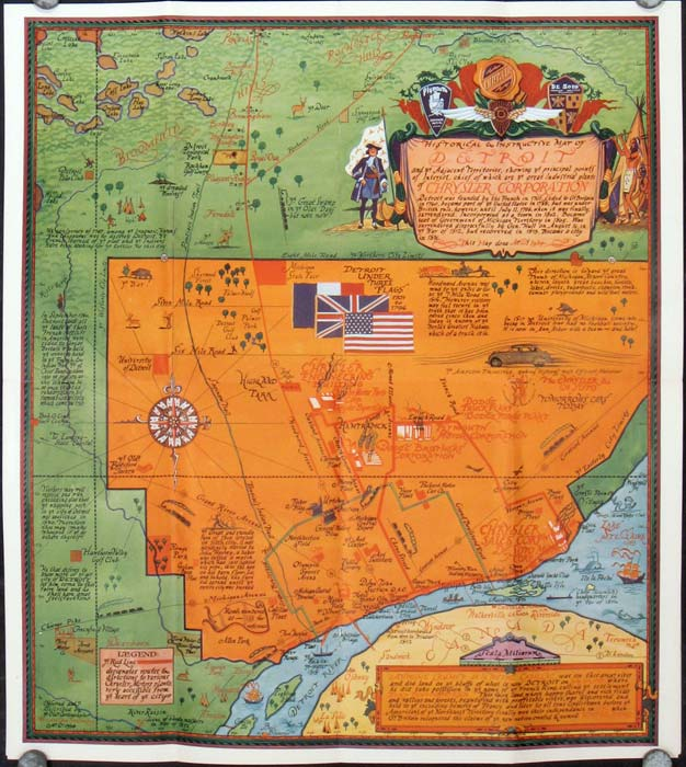 A Cordial Welcome to Detroit. Map title: Historical and Instructive Map of Detroit. MICHIGAN - DETROIT.