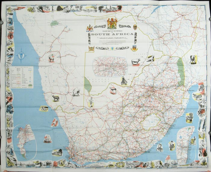 Tourist Map of the Republic of South Africa. SOUTH AFRICA.