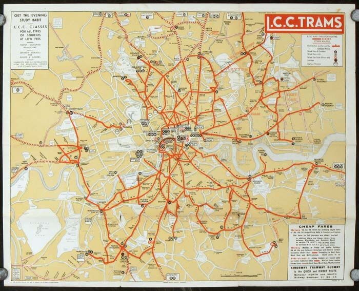 Tramways Map and Timetable. L.C.C. Trams. Map title: L.C.C. Trams. ENGLAND - LONDON COUNTY COUNCIL TRAMWAYS.