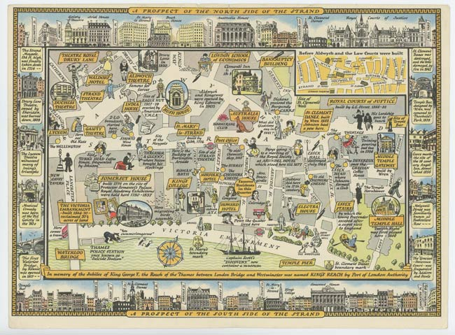 Great London Map.A Great New Survey Of London 1946 Map Of The Strand By England London On Oldimprints Com