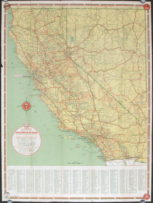 California Nevada Highways. (Map title: Smiling Associated Dealers' Official Road Map California - Nevada). CALIFORNIA / NEVADA ROAD MAP.