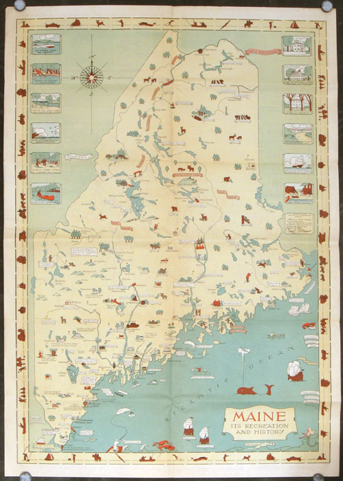 Route and Pictorial Map of Maine. (Map title: Maine. Its Recreation and History / State Highway Commission Map of Maine). MAINE.