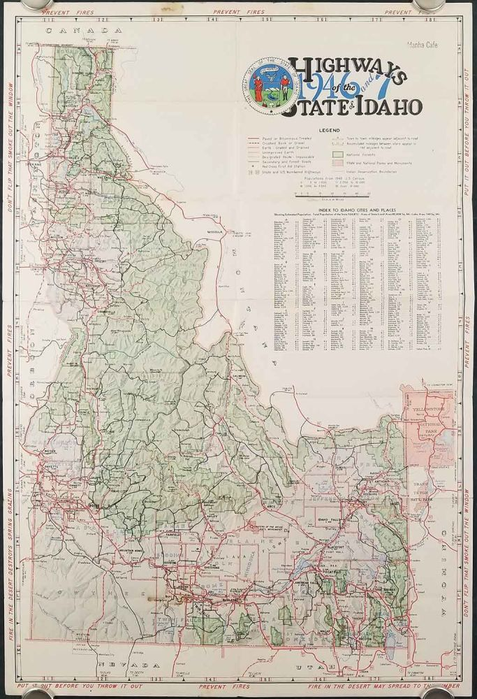 Idaho Highway Map of Vacation Land 1946-47. Map title: Highways of ...