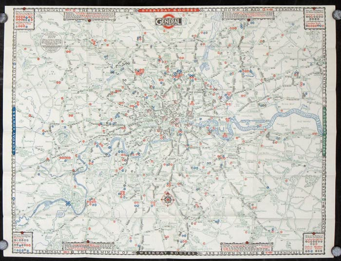 Show Map Of England.Map Of The General Omnibus Routes General No 4 1928 By England London On Oldimprints Com