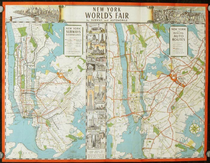 The New York World's Fair: Maps that show how to get there by subway automobile (Map title: New York World's Fair by Subway and Automobile). NEW YORK - NEW YORK CITY / WORLD'S FAIR.