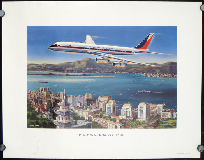 Hong Kong. Philippine Air Lines DC-8 Fan Jet