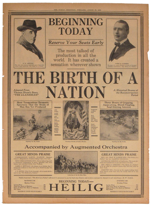 """The Birth of a Nation. Adapted From Thomas Dixon's Story """"The Clansman."""" A Historical Drama of the Reconstruction Period. The Sunday Oregonian, Portland, August 29, 1915. MOVIES - BIRTH OF A. NATION."""