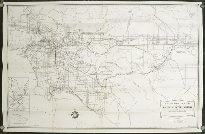 A Map of the Pacific Electric Lines. Map title: Rail and Motor Coach Lines of the Pacific Electric Railway. CALIFORNIA - PACIFIC ELECTRIC RAILWAYS.