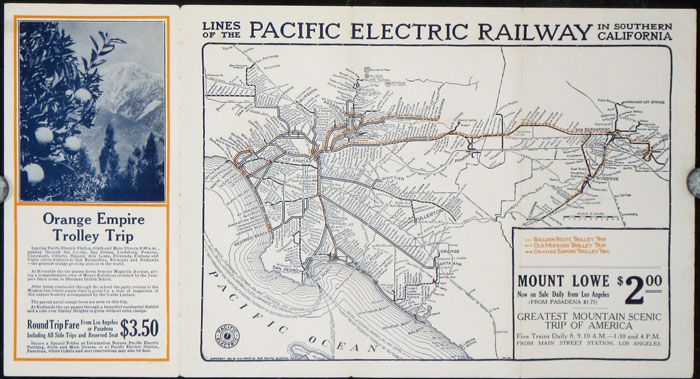 Sight-Seeing Trolley Trips. PACIFIC ELECTRIC RAILWAY / CALIFORNIA.