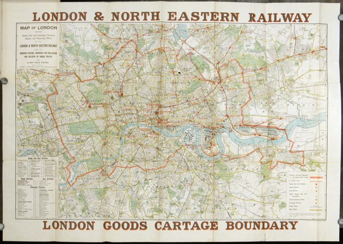Map of London Shewing Goods Cartage Boundary for Collection & Delivery of Traffic, Also Goods & Coal Depots, Receiving Offices, Passenger Stations and Postal Districts. ENGLAND - LONDON.