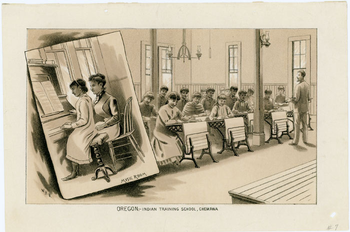 Oregon. - Indian Training School, Chemawa. TWO LITHOGRAPHIC PRINTS. OREGON - NATIVE AMERICAN INDIANS - TRAINING.