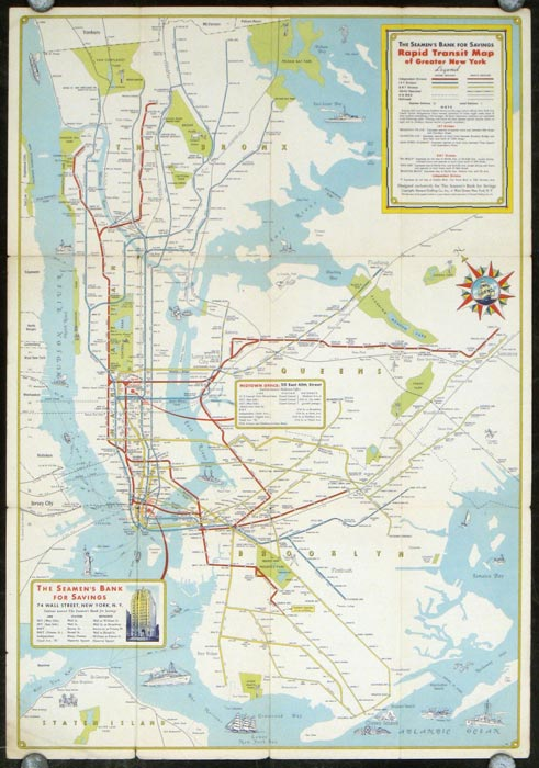 Map Of Greater New York City Area.New York City Rapid Transit Lines Principal Auto Routes Map Title The Seamen S Bank For Savings Rapid Transit Map Of Greater New York By New York