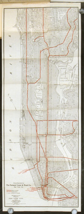 New York City subways, Hudson tunnels, elevated, surface and omnibus lines, taxicabs, railway stations, churches, hotels, restaurants, tea rooms, shops, theatres, and places of interest. NEW YORK CITY.