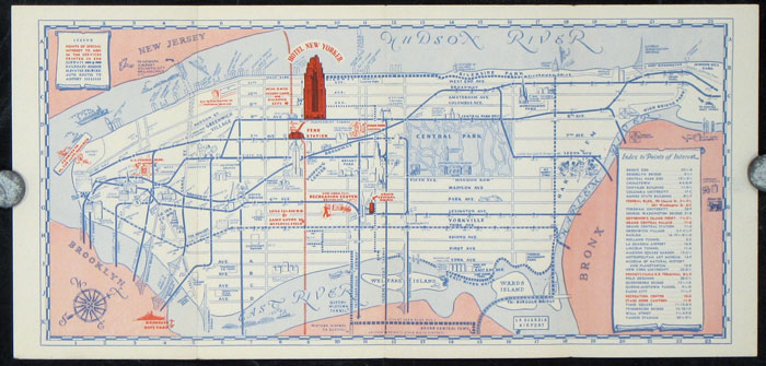 Map Of New York New York Hotel.A Simplified Map Guide To Places Of Interest Hotel New Yorker By New York New York City On Oldimprints Com