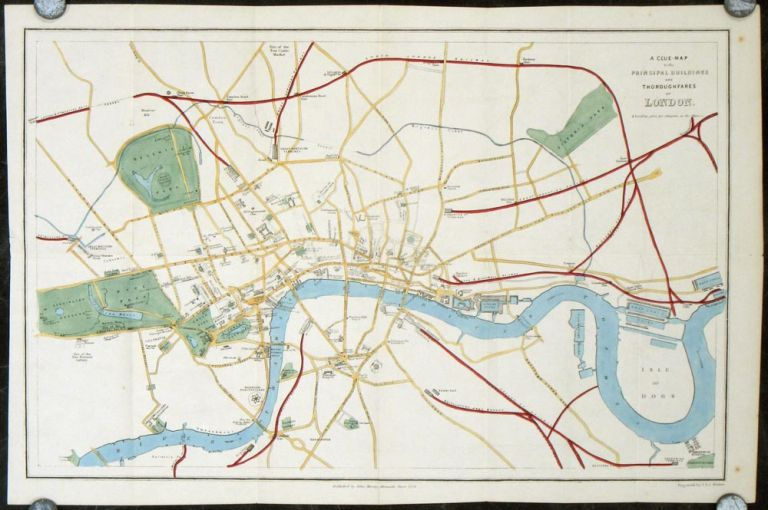 A Clue-Map to the Principal Buildings and Thoroughfares of London. ENGLAND - LONDON 1854.