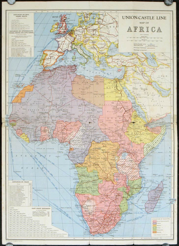 Route Map of Africa. AFRICA.