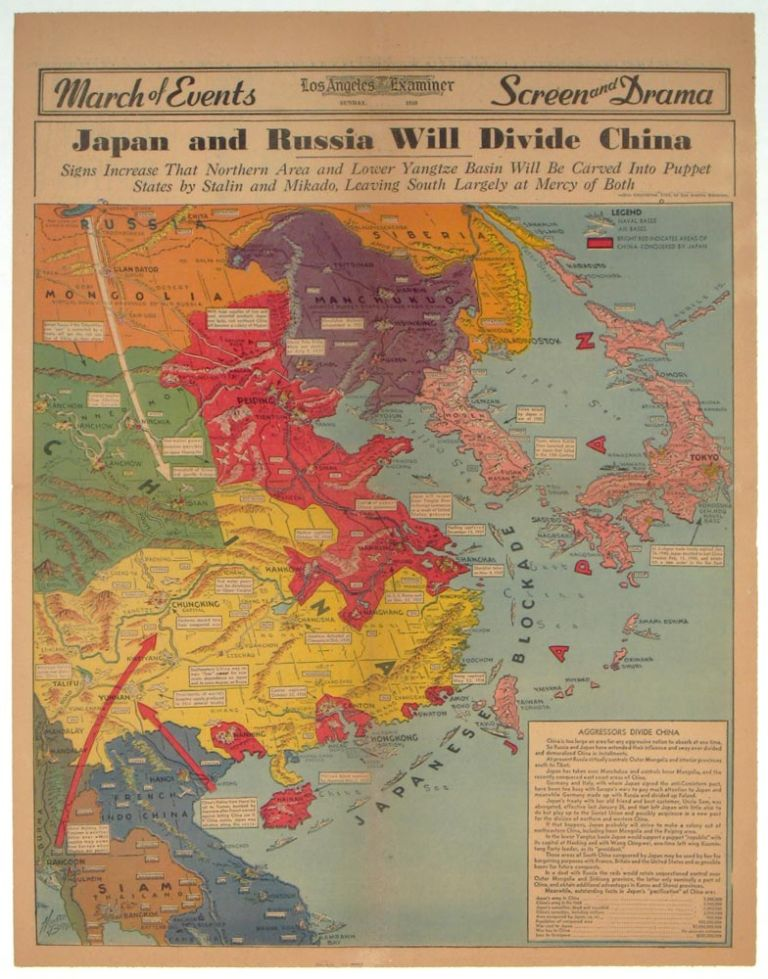 Japan and Russia Will Divide China. Signs Increase That Northern Area and Lower Yangtze Basin Will be Carved Into Puppet States by Stalin and Mikado, Leaving South Largely at Mercy of Both. PICTORIAL REVIEW: Los Angeles Examiner Sunday, April 28, 1940. CHINA / RUSSIA / JAPAN.