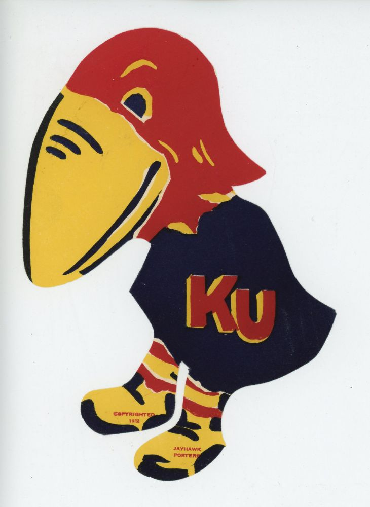 KU JAYHAWK. [LUGGAGE LABEL]. KANSAS UNIVERSITY BASKETBALL.
