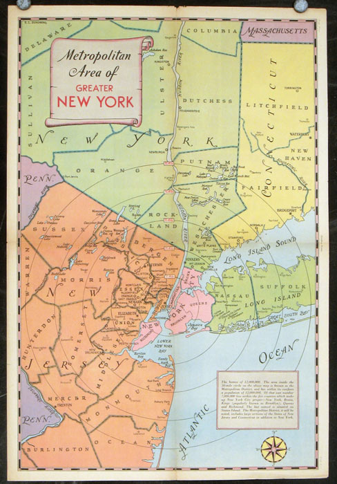 Map Of Greater New York City Area.Metropolitan Area Of Greater New York By New York New York City On Oldimprints Com