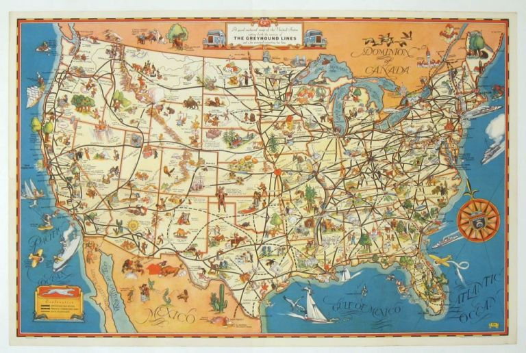 View Map Of United States.A Good Natured Map Of The United States Setting Forth The Services Of The Greyhound Lines And A Few Principal Connecting Bus Lines By United States